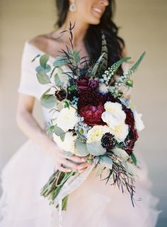 fall feather burgundy bouquet for weddings - Google Search