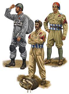 """Regio Esercito - """"Paratroopers, 1939-41: • Appuntato, 1° Battaglione Carabinieri Paracadutisti; Tarquinia, 1941 • Libyan Muntaz, Fanti dell'Aria, 1939 • Libyan Sciumbasci, Fanti dell'Aria, 1938"""", Johnny Shumate"""