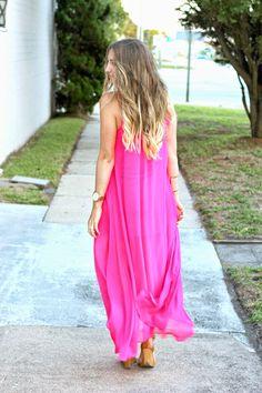flowy hot pink maxi dress