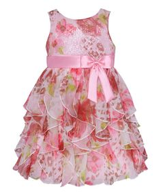 Look at this #zulilyfind! Pink Leopard & Rose Ruffle Tier Dress - Toddler & Girls #zulilyfinds