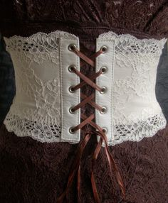 Ivory Leather and Lace Corset Belt OOAK Medium by kvodesign