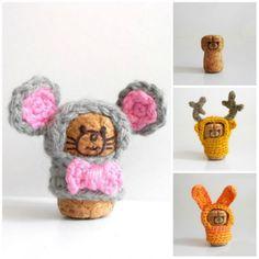 Crocheted cork animals