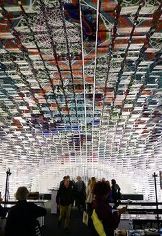 Hanging installation made out of 11,000 A3 paper sheets by Finnish illustrator Kustaa Saksi and Swedish architect Gert Wingårdh.