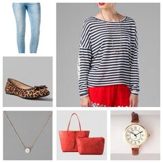 "Bordley Striped Top, Harper Ultra Skinny Jean in Vintage Light Blue, Beverlie Leopard Flats, ""S"" Initial Necklace, Kent Reversible Tote in Red/Orange, and a Portland Antique Inspired Mini Watch"