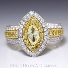 1.16ctw Natural Fancy Yellow Marquise Diamond Ring w/ Accents in 18K Two Tone Gold