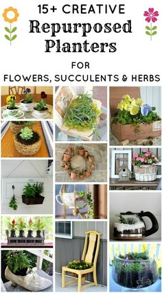 15+ Creative Repurposed and Upcycled Planters for Flowers, Succulents and Herbs | http://www.knickoftime.net