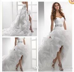 2015 Modern White/Ivory Organza Ruffles A Line Wedding Dresses Hi Lo Sleeveless Lace Up Back Bridal Gowns With Sweet Haert Custom Make Dress Dresses From Charmingmiss, $136.84  Dhgate.Com