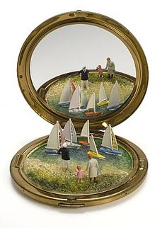 """Feign Domain Captain Again"" - miniature works by Sydney based artist Kendal Murray Altered Tins, Miniature Calendar, Miniature Photography, Tin Art, Tiny World, Tiny Treasures, Assemblage Art, Miniature Dolls, Miniature Fairy Gardens"