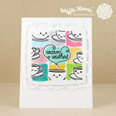 Adorable stamped and die cut card made with Waffle Flower stamps and dies.