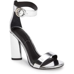 Women's Kendall + Kylie Giselle Strappy Sandal (485 SAR) ❤ liked on Polyvore featuring shoes, sandals, silver, silver strap sandals, silver sandals, strap sandals, toe strap sandals and strappy sandals