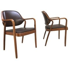 Pair of Mid-Century Bentwood Armchairs by Don Pettit for Knoll-Walnut