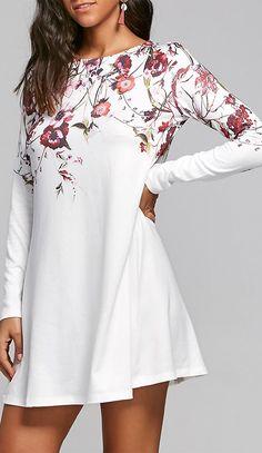dress outfits:Flower Print T-shirt Shift Dress