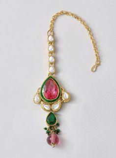 Pink Kundan Maang tikka - India