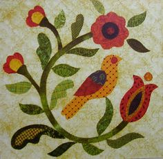 Block 5 from Fraktur Quilt Bird Applique, Applique Quilt Patterns, Small Quilts, Mini Quilts, Penny Rugs, Vogel Quilt, Caswell Quilt, Wool Quilts, Bird Quilt