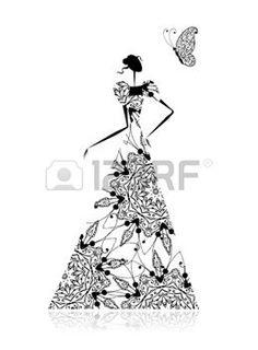 Мода силуэт девушки в свадебном платье для вашего дизайна photo