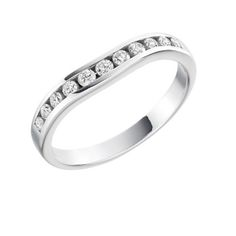18ct White Gold And Round Brilliant Cut Diamond Half Eternity / Wedding Ring 0.27ct - Size L