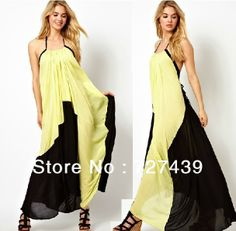 Hot Sale Yellow Black Patchwork Backless Maxi Spaghetti Strap Tie Dress Seaside Sexy Dress Bohemian New Arrival Women Dress #022 $29.90