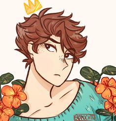 """""""Oikawa Tooru"""" Pretty & Petty Volleyball Trash Can. ((Side note: The flowers in this drawing are called Tropaeolum/Nasturtium and they symbolize """"Conquest, Victory in Battle.""""))"""