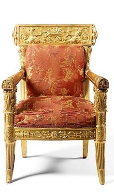 AN ITALIAN CARVED GILTWOOD ARMCHAIR BY HENRY PETERS AFTER THE DESIGNS OF MICHELE CANZIO (1788-1868), GENOESE, EN SUITE WITH THE FOLLOWING LOT CIRCA 1825