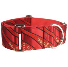 This is a martingale dog collar, also known as a Greyhound dog collar. This black and red dog collar features a striped retro pattern and is a very fancy dog collar!  Looking for a matching leash? you can find it here Looking for a martingale with an added quick-release buckle? Here is this pattern as a combo dog collar. We also offer this same pattern in emerald green!