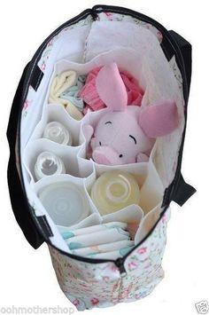 Nursing Baby Travel Storage Diaper Bags Organizer Milk Bottle Divider White