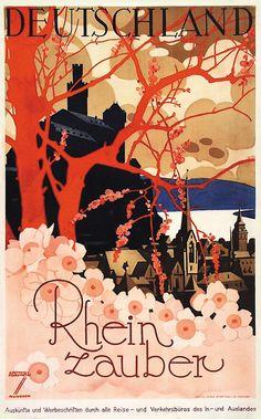 Deutschland, Rhein Zauber - 1929 - (Ludwig Hohlwein) -