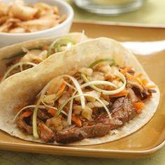 Korean Steak & Mushroom Tacos with Kimchi for Two - EatingWell.com
