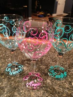 www.bkgfactory.co… Swirls Hand Painted Wine Glasses Personalize by TheArtsyBohemian, $12.00