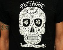 SUGAR SKULL T SHIRT mens boys day of the dead top black tattoo screen print art clothing mask fabric calavera dia de los muertos mexican new