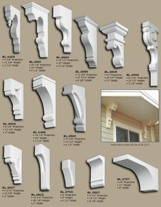 Polyurethane Corbels, pg 6 / rain catcher for over door? Moldings And Trim, Moulding, Craftsman Style, Architecture Details, Curb Appeal, Home Projects, Interior And Exterior, House Plans, Home Improvement