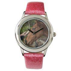 Horse_Pat,_Girls_Pink_Glitter_Watch. Watches