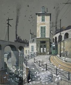 James McNaught - )The Disappearance of the Hatcheck Girl Watercolour and gouache on board House Landscape, Urban Landscape, Magazine Illustration, Graphic Illustration, Environment Sketch, Sketch Background, Italian Baroque, Fantasy Concept Art, Commercial Art