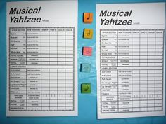 Musical Yahtzee - More Whole Note, Half-Note, Quarter-Note Games Music Sub Plans, Music Lesson Plans, Music Lessons, Piano Lessons, Music Activities, Music Games, Music Theory Games, Fun Music, Movement Activities