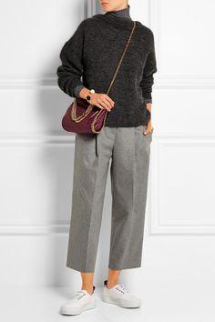 Stella McCartney The Falabella mini faux brushed-leather shoulder bag NET-A-PORTER.COM