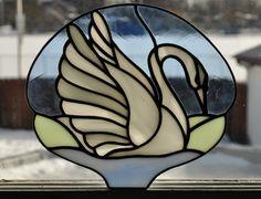 "Leaded Stained Glass Swan Sun Catcher 8 1 4"" Wide | eBay"
