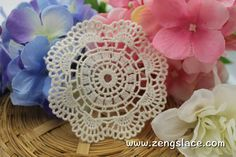 Beige round cotton lace applique, LA-18-1