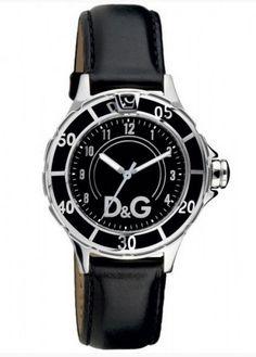 Montre DOLCE & GABBANA femme, bracelet cuir et cadran noir.