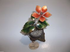 Vintage BOVANO Copper ENAMEL Flower Pot ORANGE GREEN Original TAG 4.5
