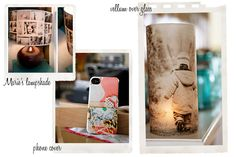 Vellum over glass: Print your image on vellum paper, wrap around glass, add a candle inside.