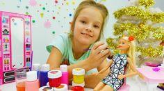 Детское видео про куклы Барби для девочек: Игры макияж на новый год 2017...