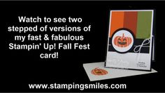What I like about my Stampin' Up! Fall Fest fast & fabulous card is that is a great card for Halloween or Thanksgiving. Watch to the end to see two stepped up versions of my Fall Fest card! Shop in my online store http://www.shopwithshelly.com Visit my stamping blog http://www.stampingsmiles.com Subscribe to The Stamper's Insider! Your stamping source for inspiration, information and ideas! http://www.thestampersinsider.com