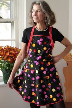 Everyday Flair Wild Cherry Apron  Red Lavender by cococtions, $28.00
