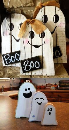 Have a look at these beautiful pallet wood Halloween decoration ideas to take yo. Have a look at these beautiful pallet wood Halloween decoration ideas to take your ghostly party decoration to a whole new level. Happy Halloween welcome board Fall Wood Crafts, Halloween Wood Crafts, Fröhliches Halloween, Diy Halloween Decorations, Holidays Halloween, Holiday Crafts, Wooden Pumpkin Crafts, Hollween Decorations, Halloween Decorating Ideas