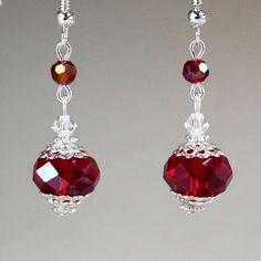 Deep Red Crystal Vintage Silver Drop Dangle Earrings Wedding Bridesmaid Gift Bead Jewellery, Bead Earrings, Diy Jewelry, Beaded Jewelry, Jewelery, Jewelry Making, Diamond Earrings, Jewelry Gifts, Bridal Jewelry