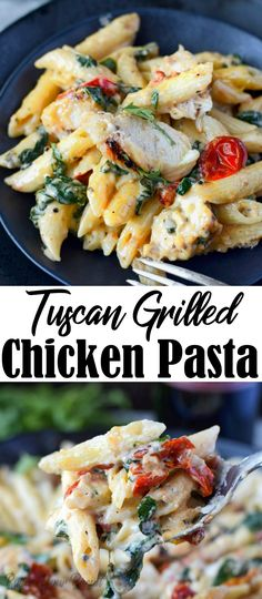 This Tuscan grilled chicken pasta is so flavorful tender chicken in a creamy sauce with roasted tomatoes garlic and spinach. Roast Chicken Pasta, Chicken Broccoli Pasta, Tuscan Chicken Pasta, Shrimp Pasta, Chicken Pasta Dishes, Keto Chicken, Rotisserie Chicken, Healthy Chicken, Baked Chicken