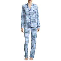 Cosabella Bella Printed Long-Sleeve Pajama Set ($140) ❤ liked on Polyvore featuring intimates, sleepwear, pajamas, long sleeve jersey, purple pajamas, blue pajamas, purple jersey and cosabella pajamas