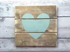 Rustic Blue Heart Planked Wood Sign