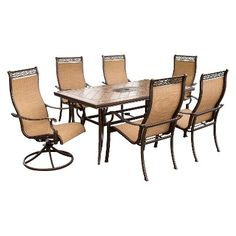 Monaco 7-Piece Sling Patio Motion/Stationary  Dining Furniture Set
