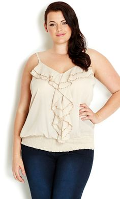 A little bit of twinkle goes a long way with our lightweight Beaded Strappy Top. This partially sheer design features a V-neckline, thin adjustable straps, ruffle detail with beaded trim on bodice and a shirred basque hem for extra comfort. Plus Size Sale, Plus Size Tips, Plus Size Model, Plus Size Womens Clothing, Plus Size Outfits, Curvy Fashion, Plus Size Fashion, City Chic Online, Curvy Models