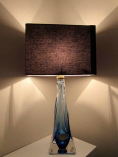 Fabulous val st lambert table lamp A lovely blue glass table lamp by